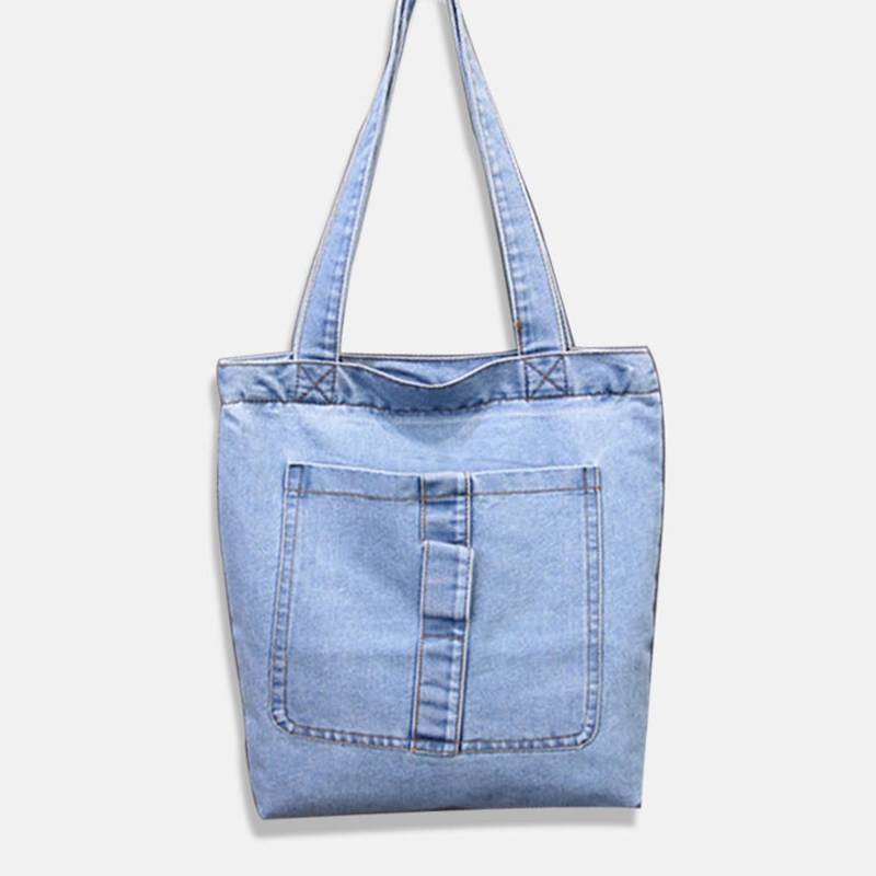 Jiessie Angela Brand Designer Women Denim Shoulder Bag Ping Casual Blue Fabric Plain Jean Top Handle Front Pocket Tote In Bags From