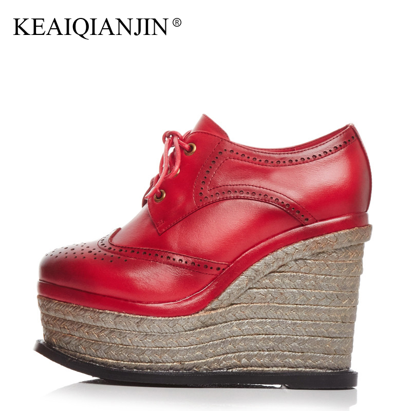 KEAIQIANJIN Woman Red Shoes Spring Autumn Casual Lace Up Platform Shoes Black Apricot Genuine Leather Flat Platform Shoes 2018 keaiqianjin woman fringe platform shoes fashion spring autumn black red horsehair flats round toe casual genuine leather loafers
