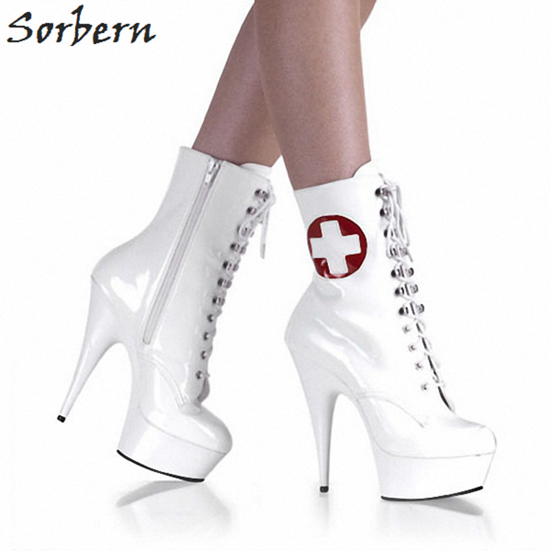 09a404326 15 Botas Tamanho Sólida Dedo up China Spike Zíper Modelo Cm Boots Branco As  Estágio Mulheres Lace 46 Super Pé Redondo Sorbern Alta Saltos ...