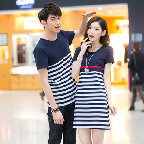 d342903c3f5 Summer lovers  striped T shirt couples dress couple clothes 2pcs lot Free  Shipping-in T-Shirts from Women s Clothing on Aliexpress.com