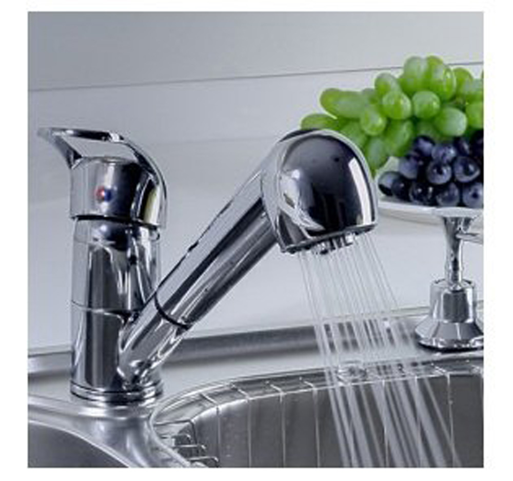 single handle low arc pull out kitchen sink faucet with two spray model chrome - Kitchen Sink Faucets Lowes