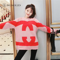 Colour Coloured Letter Sweater Woman Early Spring 2019 New Round collar Lazy Wind Loose Medium long Wool Knitted Shirt Top