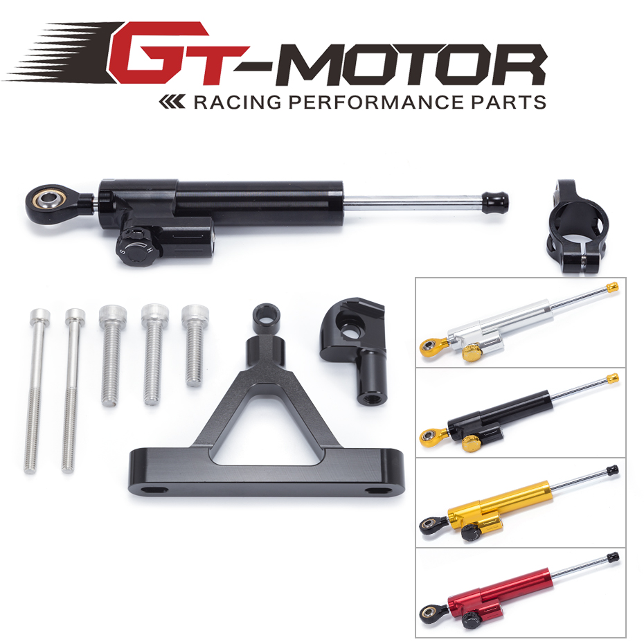 GT Motor -FREE SHIPPING For Kawasaki ZX6R ZX-6R 2007-2008 Motorcycle Aluminium Steering Stabilizer Damper Mounting Bracket Kit aftermarket free shipping motorcycle parts eliminator tidy tail for 2006 2007 2008 fz6 fazer 2007 2008b lack