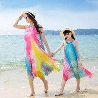 Family Look Rainbow Dress Matching Mother Daughter Dress Fashion Summer Vestido Sleeveless Beach Dress Family Clothing