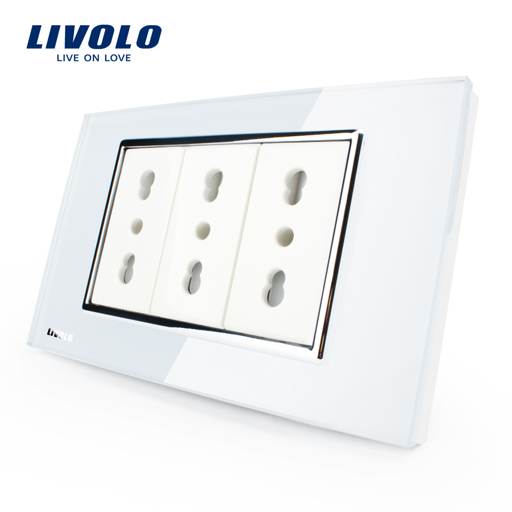 Livolo Italy Standard 3 Pins Socket, White/Black Crystal Glass, 10A/16A, 250V, Wall Powerpoints Without Plug,VL-C3C3AIT-81/82