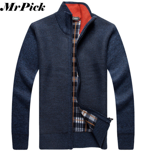 Men Thick Fleece Winter Sweaters 2014 New Designer Brand Snow Warm Fashion Long Sleeve Knitwear Cardigans Sweaters E1295