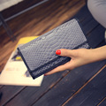 Pu Women Long Wallet Fashion Alligator Hasp Casual Purse Double Cover Portable Clutches Lady Embossed Design Card Holder