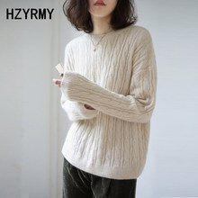 HZYRMY Autumn Winter New Women Cashmere Sweater O-Neck Solid color Twist flower High quality soft Warm pullovers Loose Sweaters