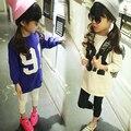Бесплатная доставка весна новое прибытие детская футболка девушки с длинным рукавом Футболка цифровая печать долго оказывать девушки флис