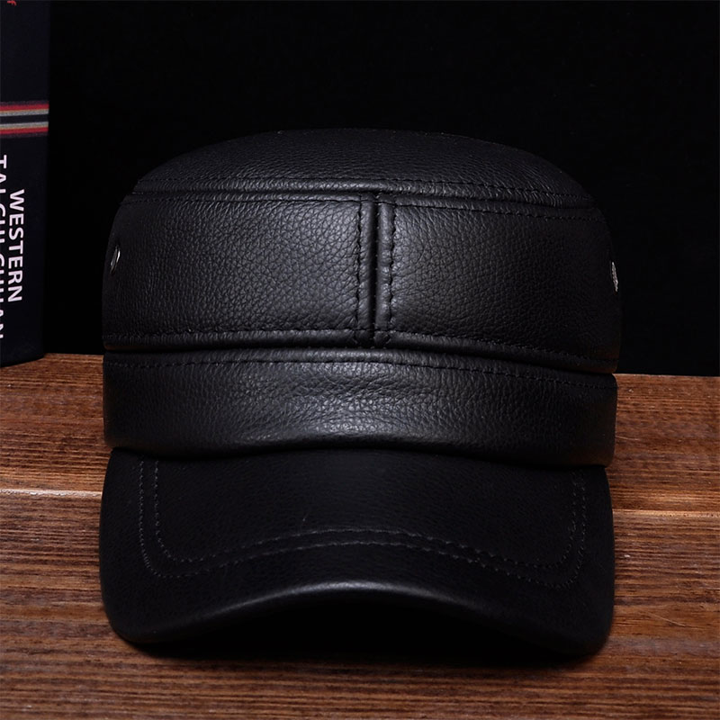 HL087 New brand new winter warm Russian real leather caps Men's genuine leather baseball caps