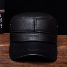 HL087  New brand new winter warm Russian real leather caps Mens genuine baseball