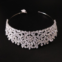 Bling Wedding Crown Diadem Tiara With Zirconia Crystal Elegant Princess Royal Tiaras and Crowns For Pageant Party