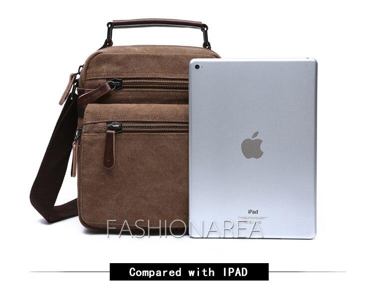 e13b8dca40a2 Large Capacity Men s Crossbody Bag IPAD Canvas Top Leather Handle ...