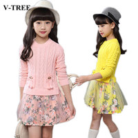 V TREE Flower Girl Dresses Long Sleeves Kids Dresses For Girls Children Clothes For Girls Age