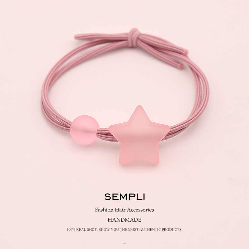 Sempli High Elasticity Nylon Elastic Hair Bands Frosted Transparent Bead Five Star For Women Kid Children Rubber Bands Scrunchie