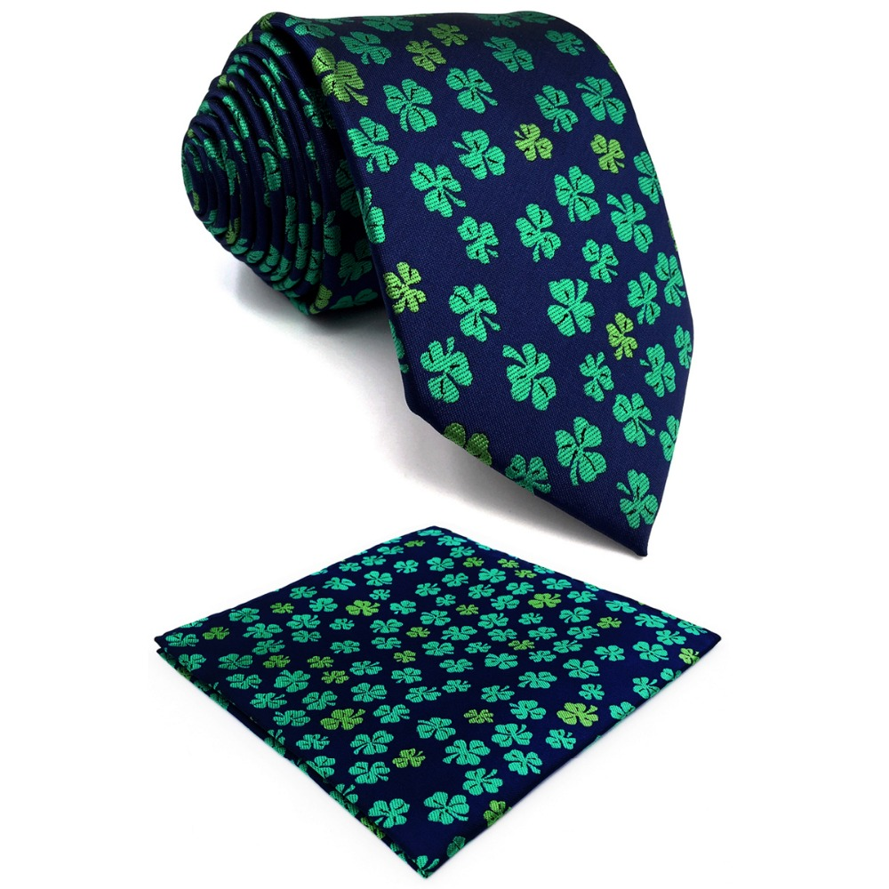 Reliable E18 Blue Green Clover Silk Floral Mens Necktie Wedding Novelty Ties For Male Classic Fashion Hanky Extra Long Size Men's Ties & Handkerchiefs