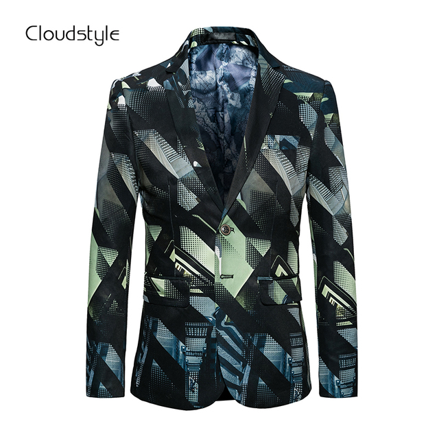 Cloudstyle 2018 New Arrival Fashion Blazers Men 3D printing Single Breasted Slim Fit Casual Christmas Blazer  For Formal Party