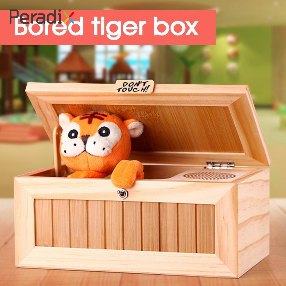 En bois Électronique Nul Box Mignon Tigre Drôle Jouet Cadeau pour Garçon et Enfants jouets interactifs de Réduction Du Stress Bureau Décoration