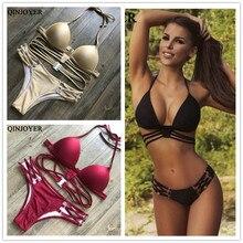 Sexy String Bikini Set Halter Swimsuit Backless Bathing Suit Women Solid Black Bikini Brazilian Biquini Push Up Swimwear