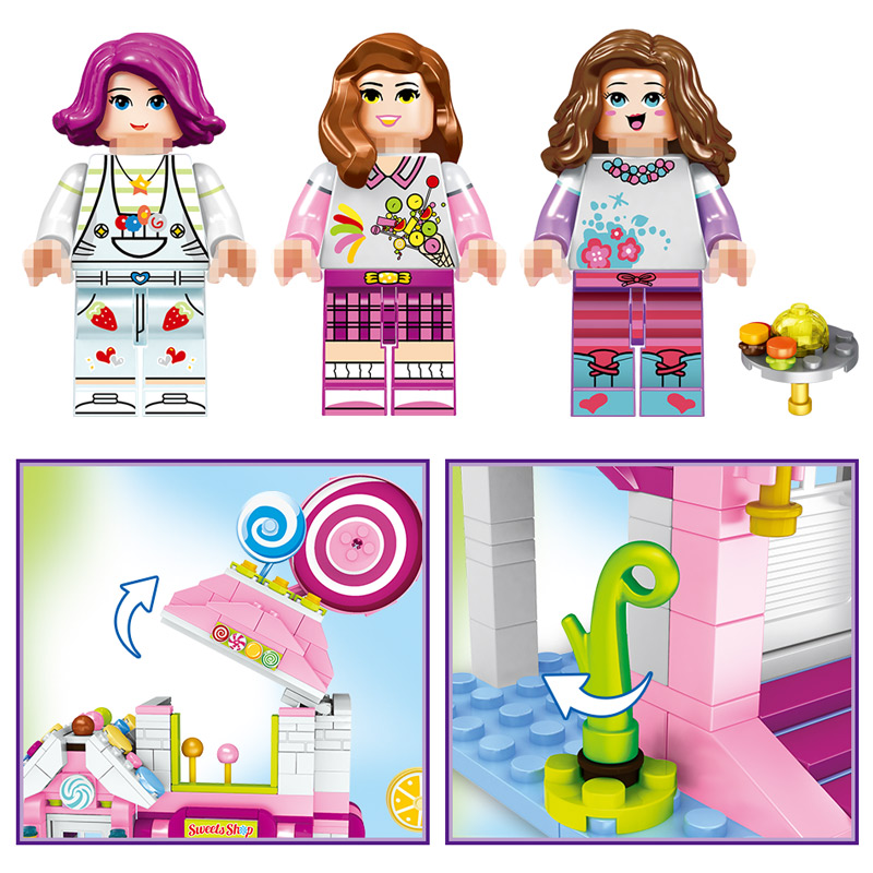 Girl Seties Blocks Compatible LegoINGLY Dessert Cottage Pink Dream Lollipop Character Action Diy Bricks Toys For Children Gift