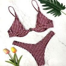 Women Bikini Triangle Push-up Plaid Black or Red