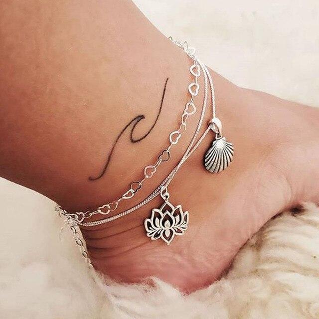 Boho Silver Chain Heart Anklet Lotus Shell Ankle Bracelet For Women