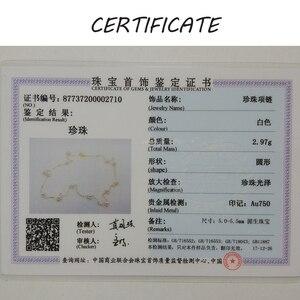 Image 5 - [YS] 18K Gold 5 5,5mm Weiße Perle Halskette China Süßwasser Perle Halskette Schmuck