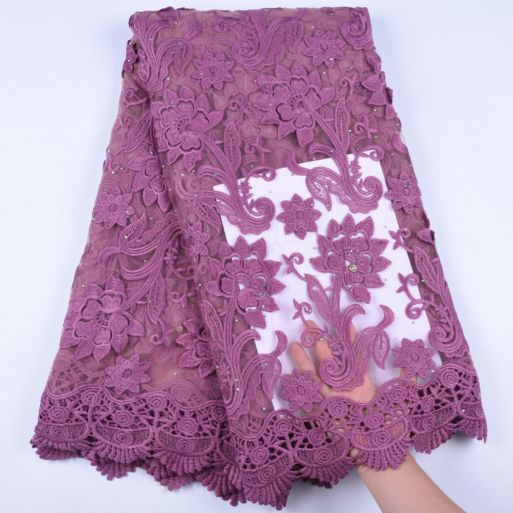New Design French Guipure Lace Fabric African Nigerian Cord Lace Fabric High Quality Silk Milk Lace