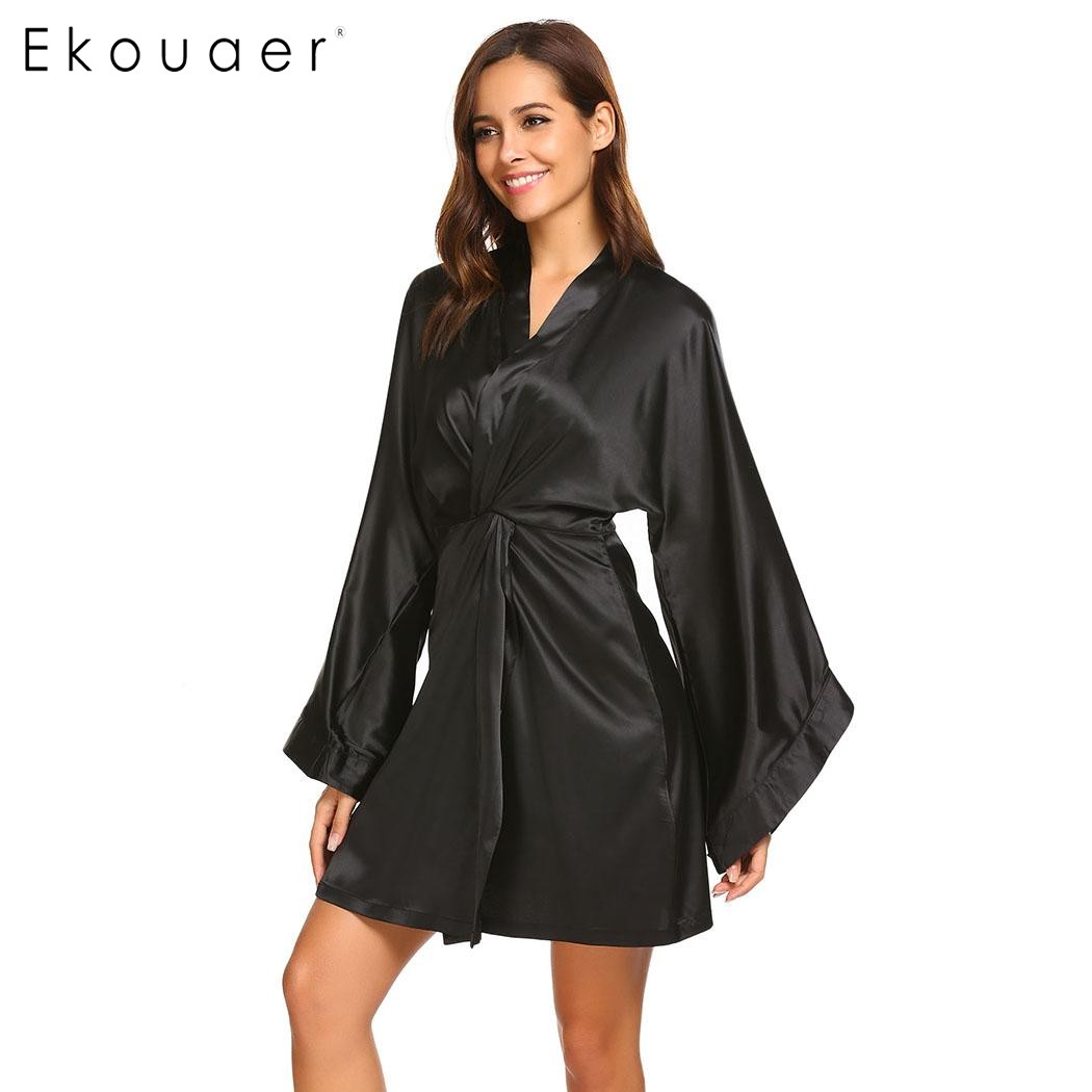 Ekouaer Women Robes Casual Sleepwear Solid Wrap V-Neck Flare Sleeve Kimono Bath Robe Stain Silk Loose Bridesmaid Dressing Gown