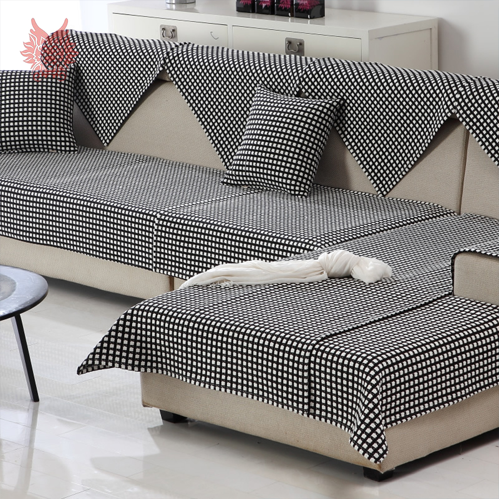 black white plaid weaving cotton linen sofa cover sectional slipcovers canape couch furniture covers fundas de sofa sp4389 in sofa cover from home garden - Plaid Canape