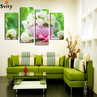 2017 4 Piece White Rose Flower Pink Vase Home Decoration Contemporary Art Canvas Prints Modular Pictures