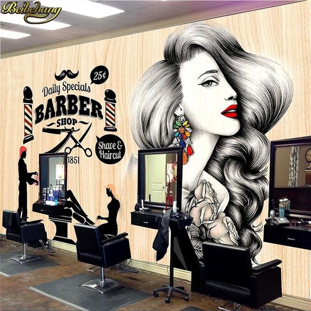Free Shipping 3D beauty barber mural salon barber shop ...  |Beauty Salon Wallpaper Designs
