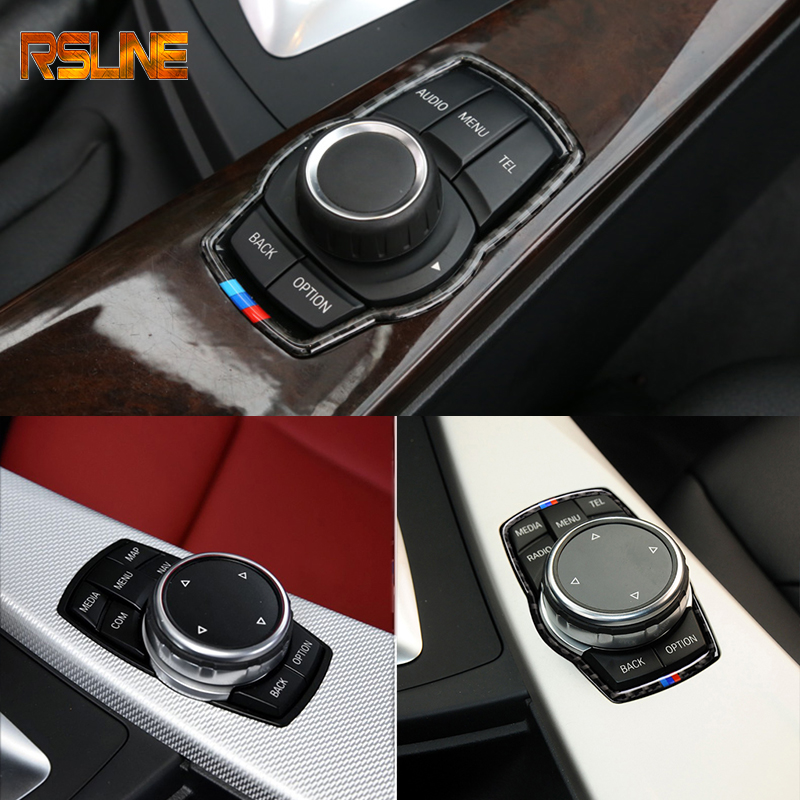 Car Carbon Fiber for BMW Multimedia Button Frame Cover Knob Trim for F10 <font><b>F20</b></font> F30 F34 F07 F25 F26 F15 F16 Car-Styling Accessories image
