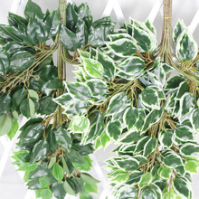 12pcs 60cm Green Leaves Silk Artificial White Banyan Tree Leaf Plant Branch Home Wedding Garden Backdrop Wall Hanging Decoration
