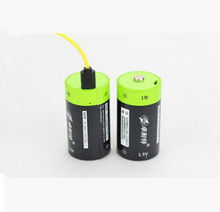 ZNTER 2pcs 1.5v Lithium li-polymer 3000mAh C size rechargeable battery USB C type Li-ion powerful battery + USB charging cable(China)