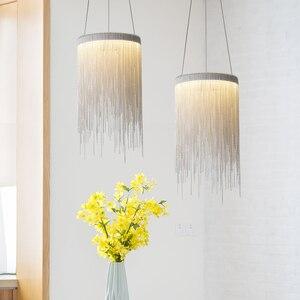 Image 3 - Современная алюминиевая Подвесная лампа, новинка, Алюминиевые цепочки 12 Вт, светодиодный подвесной светильник для столовой, гостиной, спальни, светильник (DL 60)