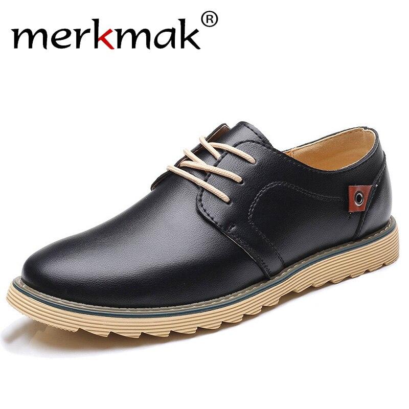 Merkmak hombres zapatos de cuero casuales de marca de lujo zapatos de diseñador para hombres cómodos tamaño grande 37-48 Oxfords vestido Formal Foowear