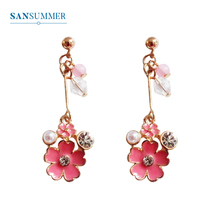 SANSUMMER Flower Earrings Jewelry 2019 Fashion Trendy Women Pearl Drop Earring Lovely Metal Long Dangle Accessories 6051