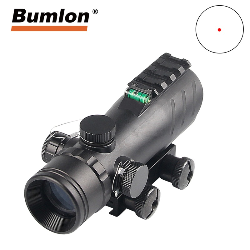 Bumlon New 1X30 Tactical Reflex Red Dot Sight Scope With Bubble Level 20mm Rail Mount For Hunting Airsoft Rifle RL5-0050