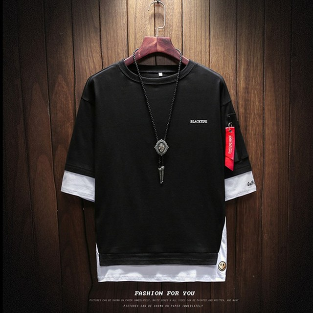 2018 Summer Korean Version Of The New Men's Belt Pendant Casual Round Neck Large Size Left Sleeve Zipper T-shirt Men's Clothing