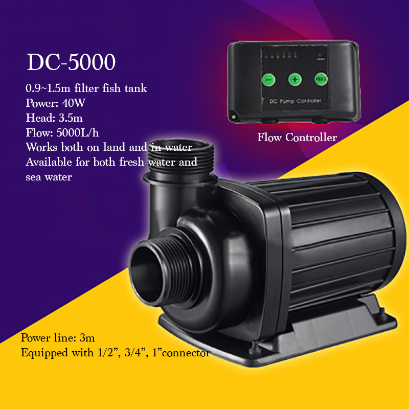 DC 5000 High Quality Small Land/water Use Electrical Submersible Pump For Filter Fish Tank 40W 5000L/h Super Quiet Water Pump