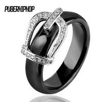 Big Size 11 12 Princess Crown Ceramic Rings For Women AAA Cubic Zirconia Micro Pave Setting