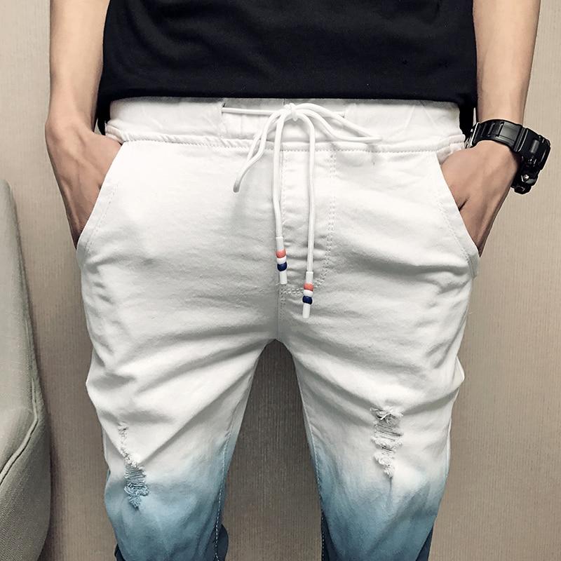 4a71fb01ce Verano de 2019 vaqueros Color degradado Streetwear de los hombres  pantalones vaqueros Slim Fit Casual Jeans hombres encuentro pantalones  cómodos de los ...