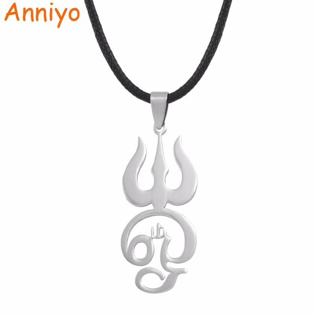 Anniyo Silver Stainless Steel Tamil Om Sign Pendant Black Rope For
