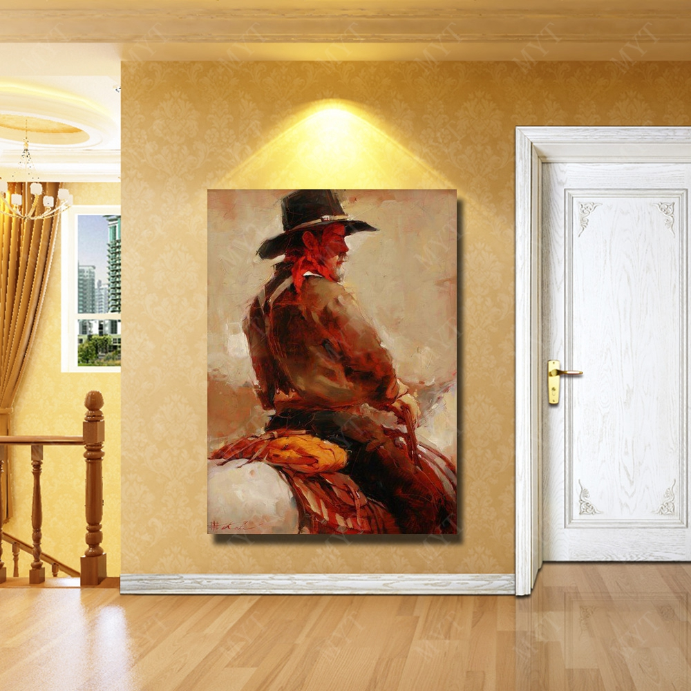 Man riding horse figure canvas with framed wall art paint large size ...