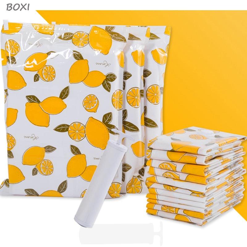 Sac de rangement sous vide pour vêtements mignon citron épaissi sac de rangement en plastique organisateur de maison joint pliable compressé organisateur de voyage