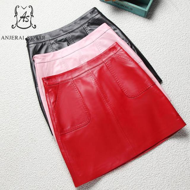 Spring Genuine leather skirts women sexy black red pink pocket Package hip OL sheepskin real leather female short A line skirt
