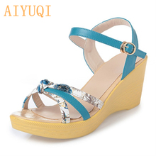 AIYUQI  2019 Microfiber leather female summer sandals, fashion casual high-heeled color open-toed wedge platform sandals female стоимость