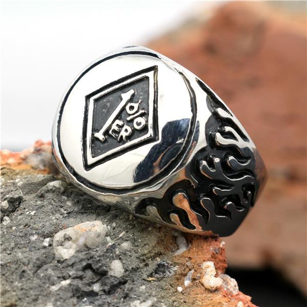316l stainless steel silver biker 1 er ring mens motorcycle biker hell fire 1 er ring in rings. Black Bedroom Furniture Sets. Home Design Ideas
