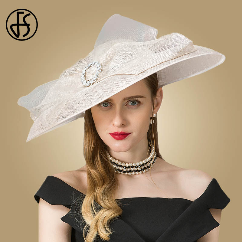 7acc2fe71 FS Women Vintage White Linen Church Hat Kentucky Derby Hats Wedding ...